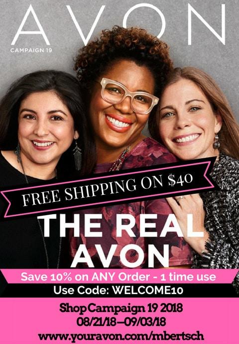 Avon Catalog Campaign 19 2018: Shop online 8/21 - 9/3/2018 from my eStore. Free shipping on $40 online orders. #AvonRepresentative #AvonCatalog #AvonBrochure #ShopAvon #BuyAvonOnline